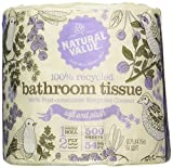 Natural Value 100% Recycled Bathroom Tissue, 500 2-Ply Sheets Per Roll (Pack of 48)