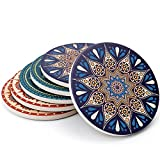 Teocera Drink Coasters Mats - Moisture Absorbing Stone Coasters with Cork Base, Prevent Furniture...