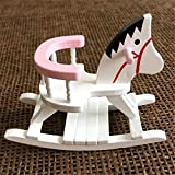 EatingBiting(R) 1:12 Dollhouse Miniature Furniture Children Room Wooden Horse Rocking Chair ,...