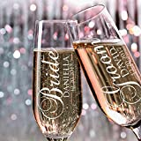 P Lab Set of 2, Bride Groom Names & Date, Personalized Wedding Toast Champagne Flute Set, Wedding...