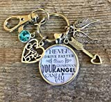 Sweet 16 key chain, Never drive faster than guardian angel can fly, birthday gift, 16th birthday...