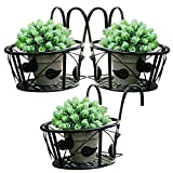 Tosnail Iron Art Hanging Baskets Flower Pot Holder - Great for Patio Balcony Porch or Fence - Pack...