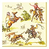 Ideal Home Range 20 Count Boston International 3-Ply Paper Cocktail Napkins, Cream Wild West