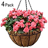 Amagabeli 4 Pack Metal Hanging Planter Basket with Coco Coir Liner 14 Inch Round Wire Plant Holder...