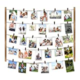 Love-KANKEI Wood Picture Photo Frame for Wall Decor 26×29 inch with 30 Clips and Ajustable Twines...