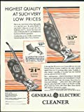 Highest quality such very low prices General Electric Vacuum Cleaner ad 1929
