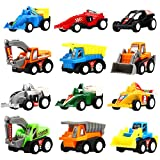 Yeonha Toys Pull Back Vehicles, 12 Pack Mini Assorted Construction Vehicles & Race Car Toy, Vehicles...