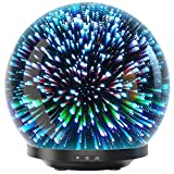 Essential Oil Diffuser - 3D Glass 200ml Galaxy Premium Ultrasonic Aromatherapy Oils Humidifier With...