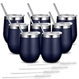 Fungun 8 Pack Stemless Wine Tumbler with Straws, Navy Blue...