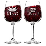 King and Queen Wine Glass Gift Set of 2 (12.75 oz) | Fun...