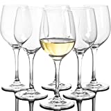 Set of 6, 10-Ounce Crystal White Wine Glasses, Clear Glass...