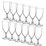HyHousing 7 Oz Clear Plastic Wine Glasses 12 Pack, Hard...