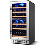 【Upgraded】Wine Cooler Dual Zone,Aobosi 15 inch 30 Bottle...