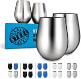 Stainless Steel Unbreakable Wine Tumblers: Stemless Camping...