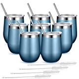 Fungun 8 Pack Stemless Wine Tumbler with Straws,Blue Gold...