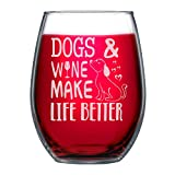 NeeNoNex Funny Gift for Dog Mom Dad Dogs & Wine Make Life...