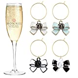 P432 Assorted Bow Wine Charms Glass Marker for Party with...