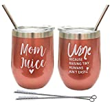 Rose Gold Wine Tumblers Set for Moms-Stainless Steel Wine...
