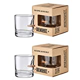 [set of 2] The Original BenShot Bullet Rocks Glass with Real...
