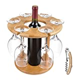 Wine Glass Drying Rack and Bottle Holder, Wooden Wine...