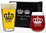 King Beer Queen Wine Gift Glass Set. His and Hers, Couples,...