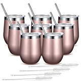Fungun 8 Pack 12 oz Rose gold Stainless Steel Stemless Wine...
