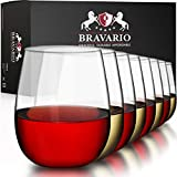 Bravario Unbreakable Stemless Plastic Wine Glasses |...