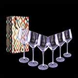 Gracefulhat Slanted Wine Glasses Set of 6, 500 ML/ 17 Oz...
