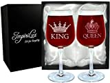ImpiriLux King and Queen Wine Glass Set | Beautiful Gift for...