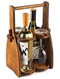 Wood Wine Bottle Glasses Caddy - Beer Carrier - Drinking...