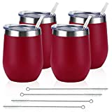 4 Pack 12Oz Stainless Steel Stemless Wine Glasses, Insulated...