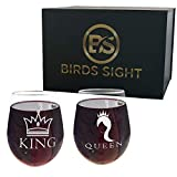 BIRDS SIGHT King and Queen Stemless Wine Glasses Gift Set of...