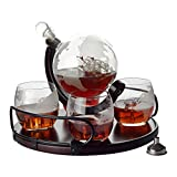 Whiskey Decanter Etched Globe Gift Set - 4 glasses with...