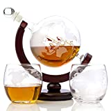 Whiskey Globe Decanter Set Etched World Globe Decanter for...