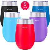 Emesly 5 Pack 12oz Stainless Steel Wine Glasses; Double Wall...
