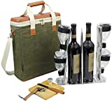 HappyPicnic Wax Canvas 3 Bottle Wine Carrier, EVA Molded...