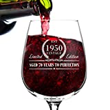 1950 Vintage Edition Birthday Wine Glass for Men and Women...