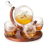 Etched World Decanter Car Whiskey Globe With 4 World Map...