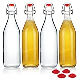 YEBODA Clear Glass Bottles with Stopper For Home Brewing...