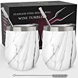 Stainless Steel Wine Tumbler 2 Pack 12 oz - Double Wall...