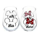 Disney'His' and'Hers' Mickey & Minnie Outline Stemless Glass...