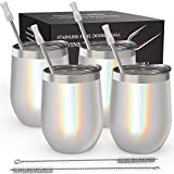 Stainless Steel Wine Tumbler 4 Pack 12 oz - Double Wall...