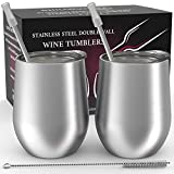 Stainless Steel Stemless Wine Tumbler 2 Pack 12 oz - Double...