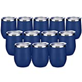 12oz/12pack Wine Tumbler with Lid,Double Wall Vacuum...