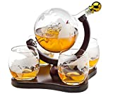 Whiskey Decanter Globe Set with 4 Etched Globe Whisky...