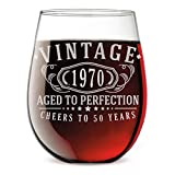 Vintage 1970 Etched 17oz Stemless Wine Glass - 50th Birthday...