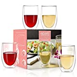 Wine Glasses - Set of 4-13 oz Tumbler Cup - Double Walled...