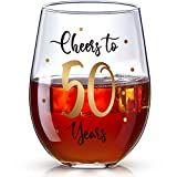 50th Birthday Stemless Wine Glass, Gold Cheers to 50 Years...