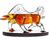 Animal Whiskey Decanter Bull On Wooden Display Tray - For...
