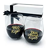 Triple Gifffted Mr and Mrs Wine Glasses Gifts For Couples,...